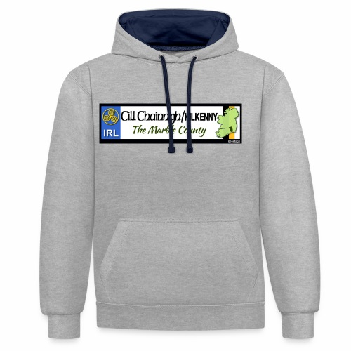 KILKENNY, IRELAND: licence plate tag style decal - Contrast Colour Hoodie