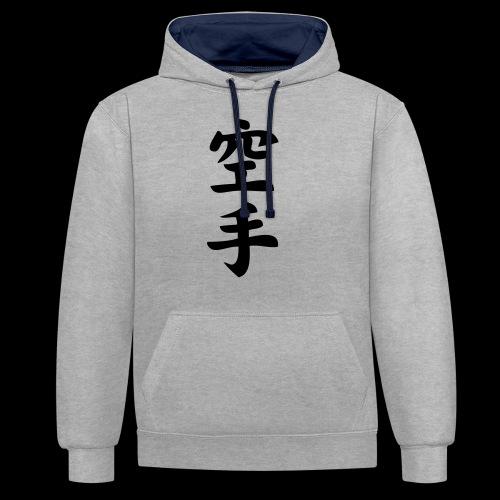karate - Bluza z kapturem z kontrastowymi elementami