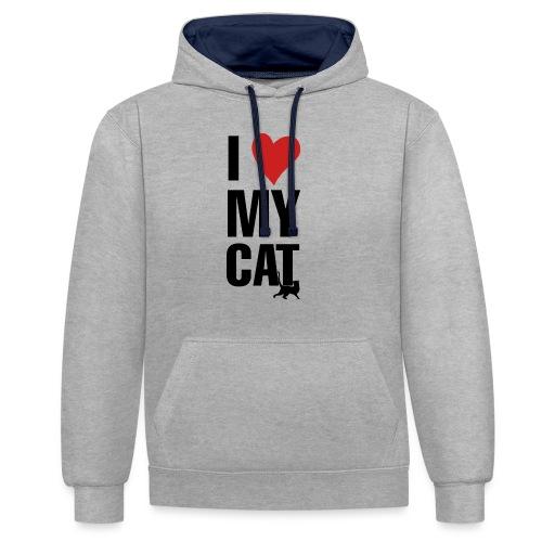 I_LOVE_MY_CAT-png - Sudadera con capucha en contraste