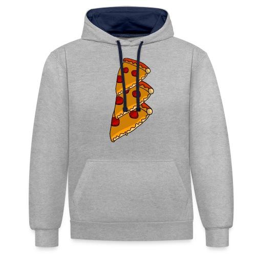 pizza - Kontrast-hættetrøje