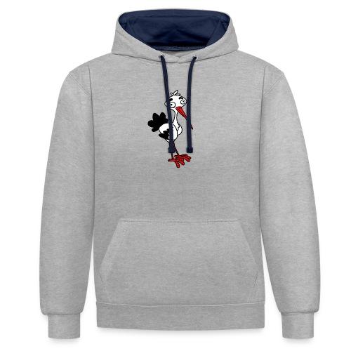 Storch von dodocomics - Kontrast-Hoodie