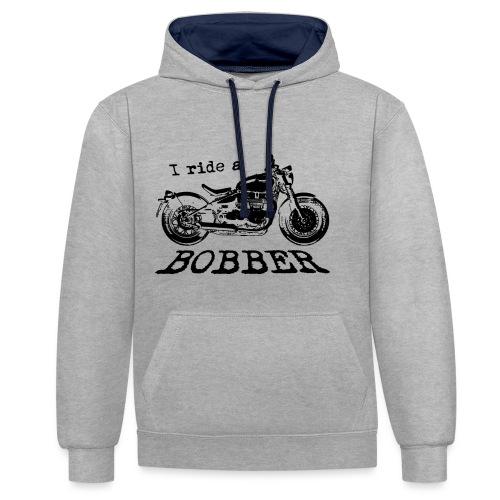 I ride a bobber - sort - Kontrast-hættetrøje