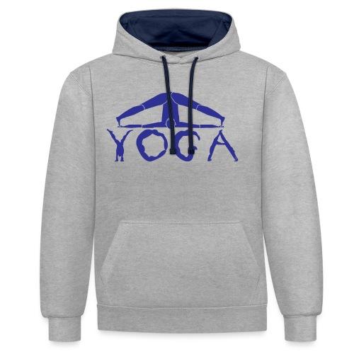yoga yogi blu namaste pace amore hippie sport art - Felpa con cappuccio bicromatica