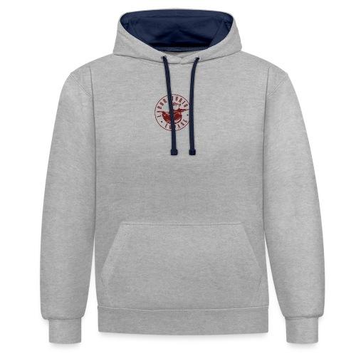 logo rosso - Felpa con cappuccio bicromatica