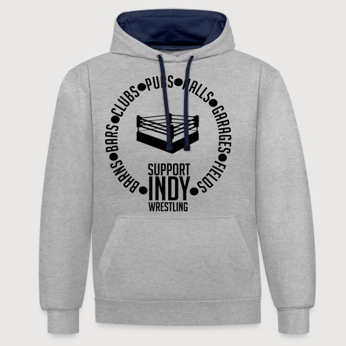 Support Indy Wrestling Anywhere - Contrast Colour Hoodie