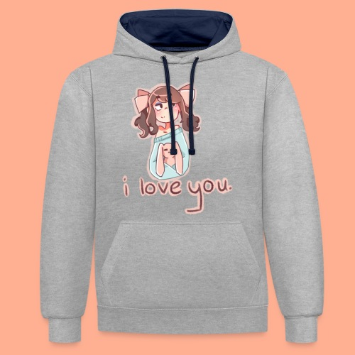 i love you - Contrast Colour Hoodie