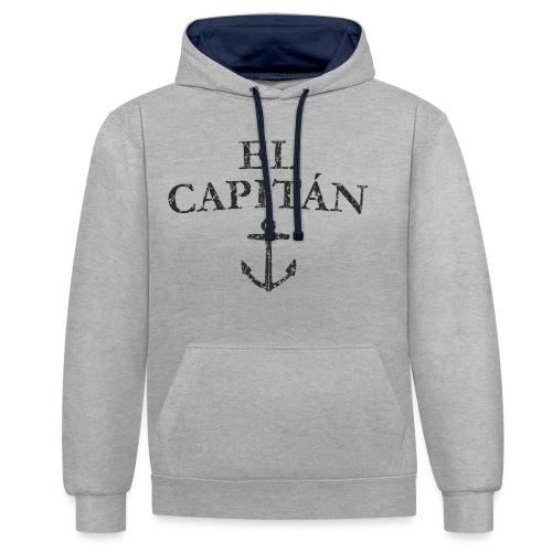 El Capitan Anker (Vintage Schwarz) Kapitän Käpt'n - Kontrast-Hoodie