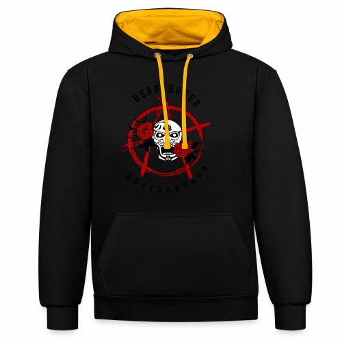 Dead Roses Anarchy Skull Black - Contrast Colour Hoodie