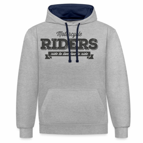 live to ride png - Contrast Colour Hoodie