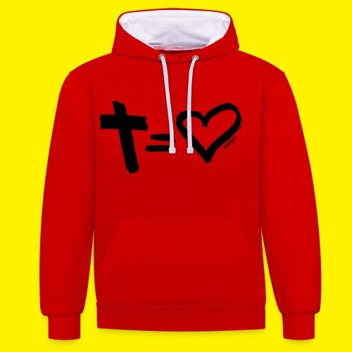 Cross = Heart BLACK - Contrast Colour Hoodie