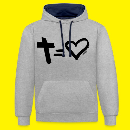 Cross = Heart BLACK - Contrast Colour Hoodie