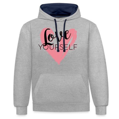 Love Yourself Logo von Pascal Voggenhuber - Kontrast-Hoodie