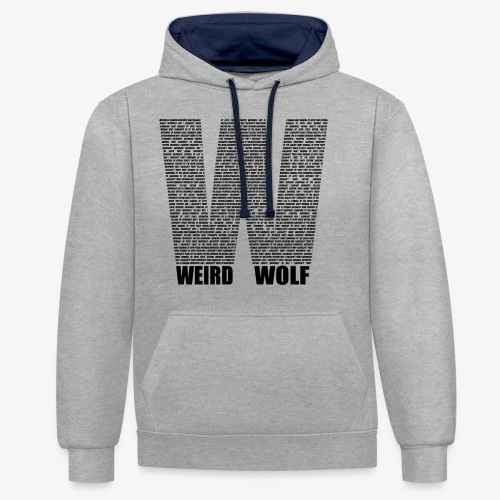 The Big W (Black) - Contrast Colour Hoodie