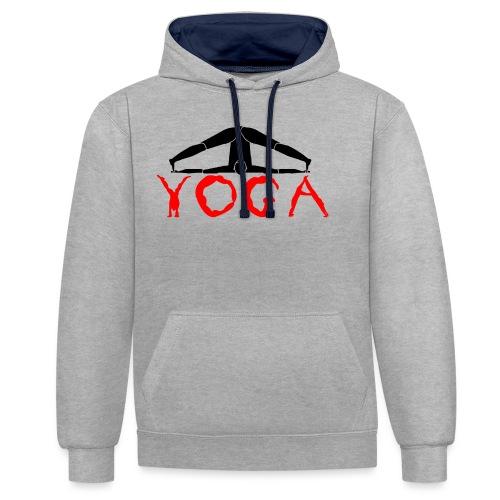 yoga yogi nero pace amore namaste sport art - Felpa con cappuccio bicromatica