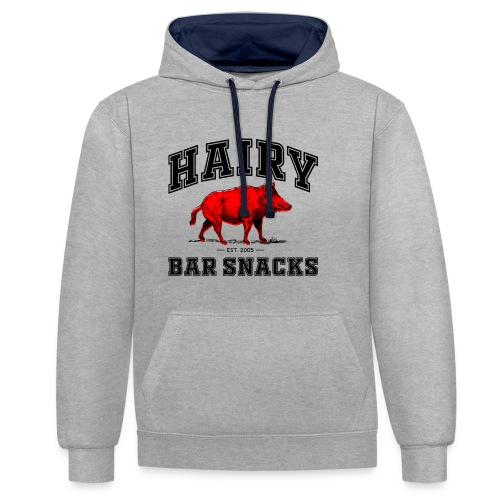 Hairy Bar Snacks College Logo Design - Contrast Colour Hoodie