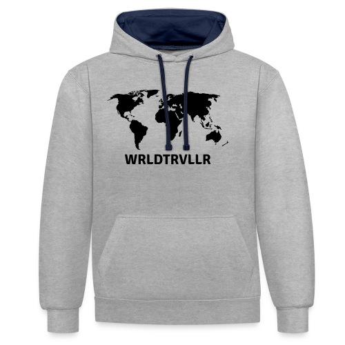 Worldtraveller - Kontrast-Hoodie