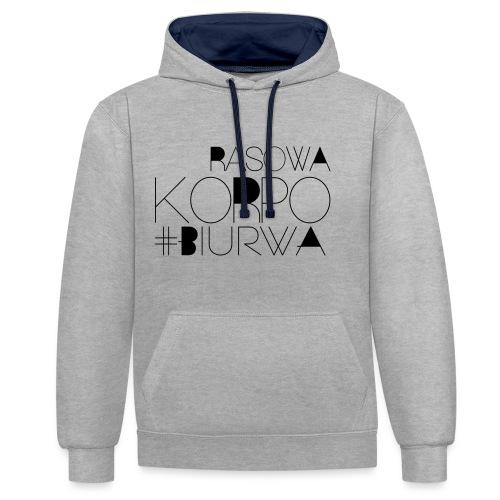 Rasowa Korpo Biurwa - Bluza z kapturem z kontrastowymi elementami