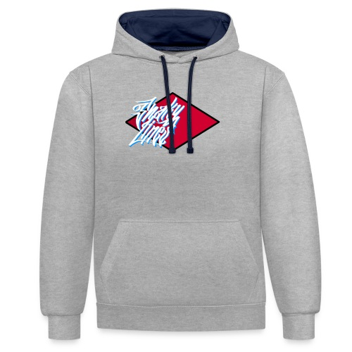Red logo - Contrast Colour Hoodie