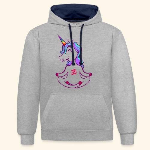 buddhistisches Meditation Einhorn T-Shirt - Kontrast-Hoodie