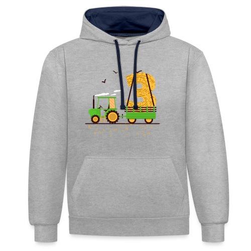 Traktor mit Anhänger 3. Geburtstag Geschenk Drei - Kontrast-Hoodie