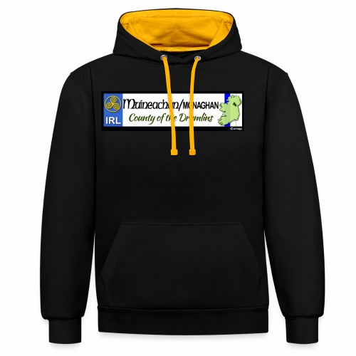 MONAGHAN, IRELAND: licence plate tag style decal - Contrast Colour Hoodie