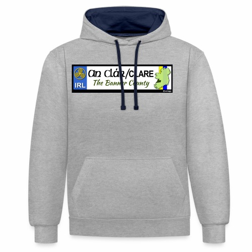 CO. CLARE, IRELAND: licence plate tag style decal - Contrast Colour Hoodie