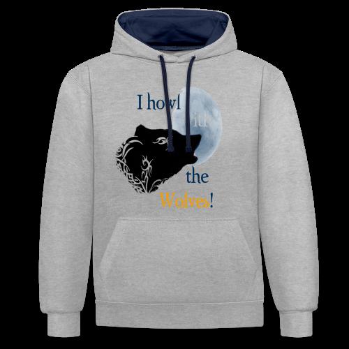 Wolf howl - Kontrast-Hoodie