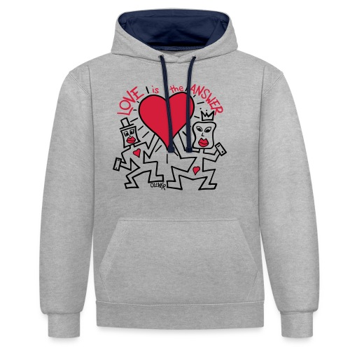 Love is the Answer by Oliver Schibli - Contrast Colour Hoodie