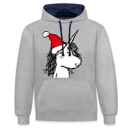 unicorno Natale - Felpa con cappuccio bicromatica