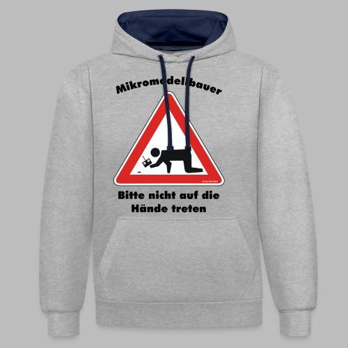 Mikromodell Warnschild Hände - Kontrast-Hoodie