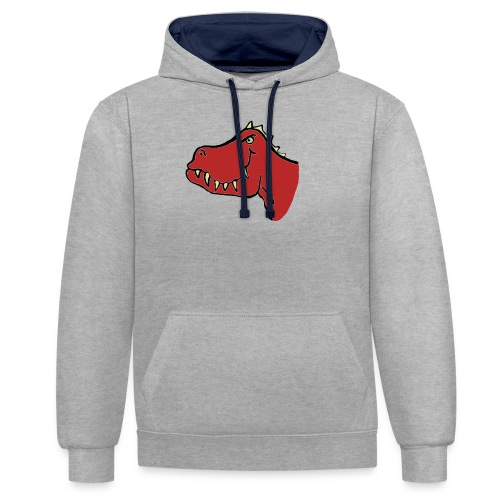 T Rex, Red Dragon - Contrast Colour Hoodie