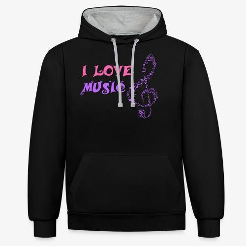 Love Music - Sudadera con capucha en contraste