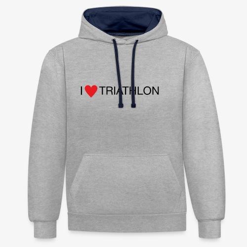 I LOVE TRIATHLON - Kontrast-Hoodie