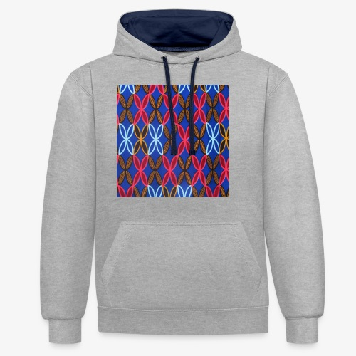 Design motifs bleu rose orange marron - Sweat-shirt contraste