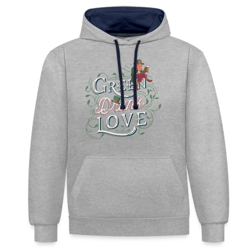 St. patricks Day / green drunk love - Kontrast-Hoodie