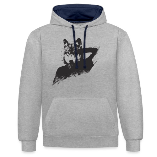 illustration zoom loup noir - Sweat-shirt contraste
