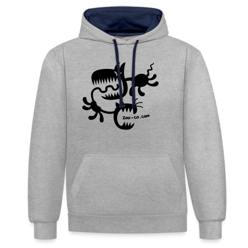 Spooky Cat and Dog - Contrast Colour Hoodie