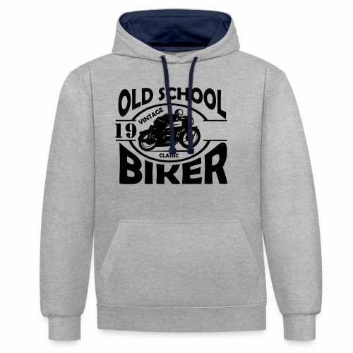 Old School Biker (customise the year) - Contrast Colour Hoodie