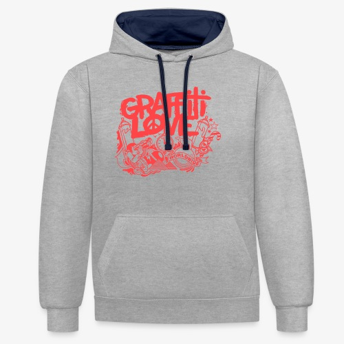 cosmos1 red graffiti love - Kontrast-Hoodie
