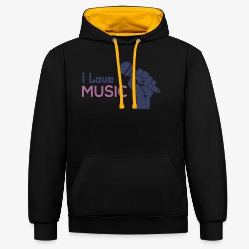 Amo la música - Sudadera con capucha en contraste