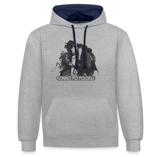 horse2 - Bluza z kapturem z kontrastowymi elementami
