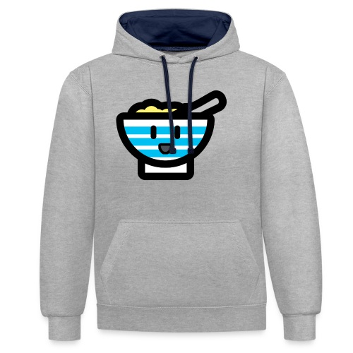 Cute Breakfast Bowl - Contrast Colour Hoodie