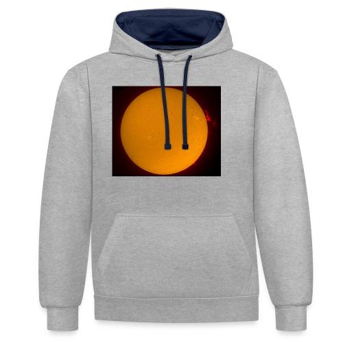 Sonne in H-Alpha - Kontrast-Hoodie