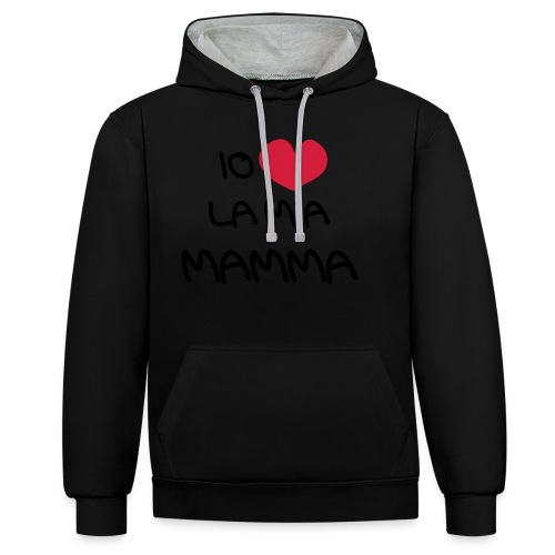 Io Amo La Mia Mamma - Felpa con cappuccio bicromatica