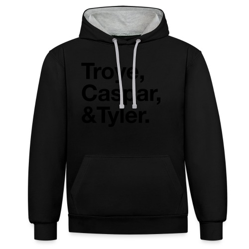 TROYE CASPAR AND TYLER - YOUTUBERS - Felpa con cappuccio bicromatica