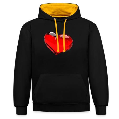 serce 3D - Bluza z kapturem z kontrastowymi elementami