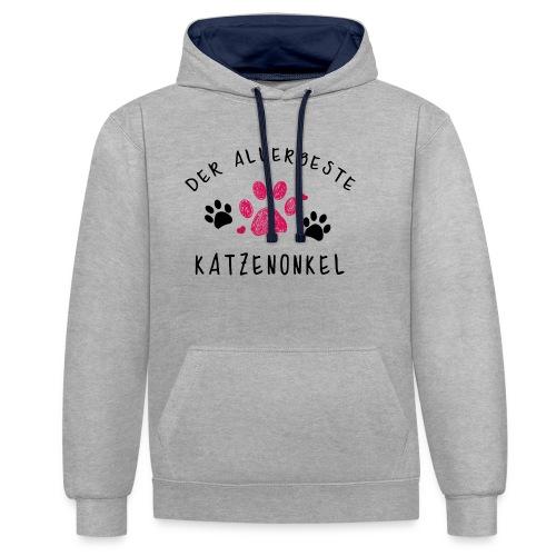 Der allerbeste Katzenonkel - Kontrast-Hoodie
