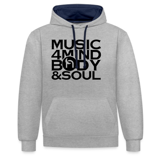 Music 4 Mind, Body & Soul Black - Contrast Colour Hoodie