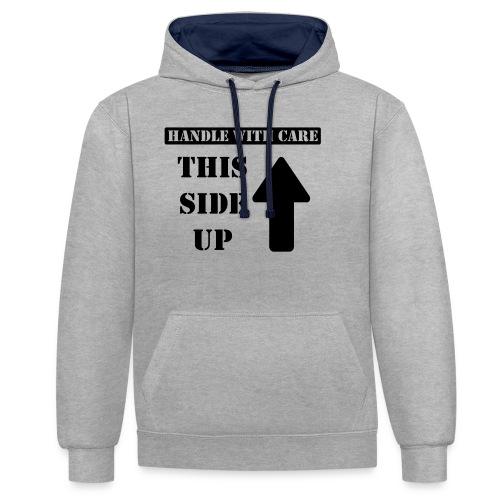 Handle with care / This side up - PrintShirt.at - Kontrast-Hoodie