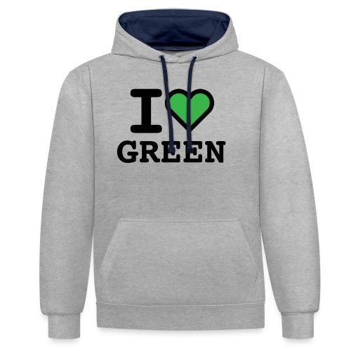 i-love-green-2.png - Felpa con cappuccio bicromatica